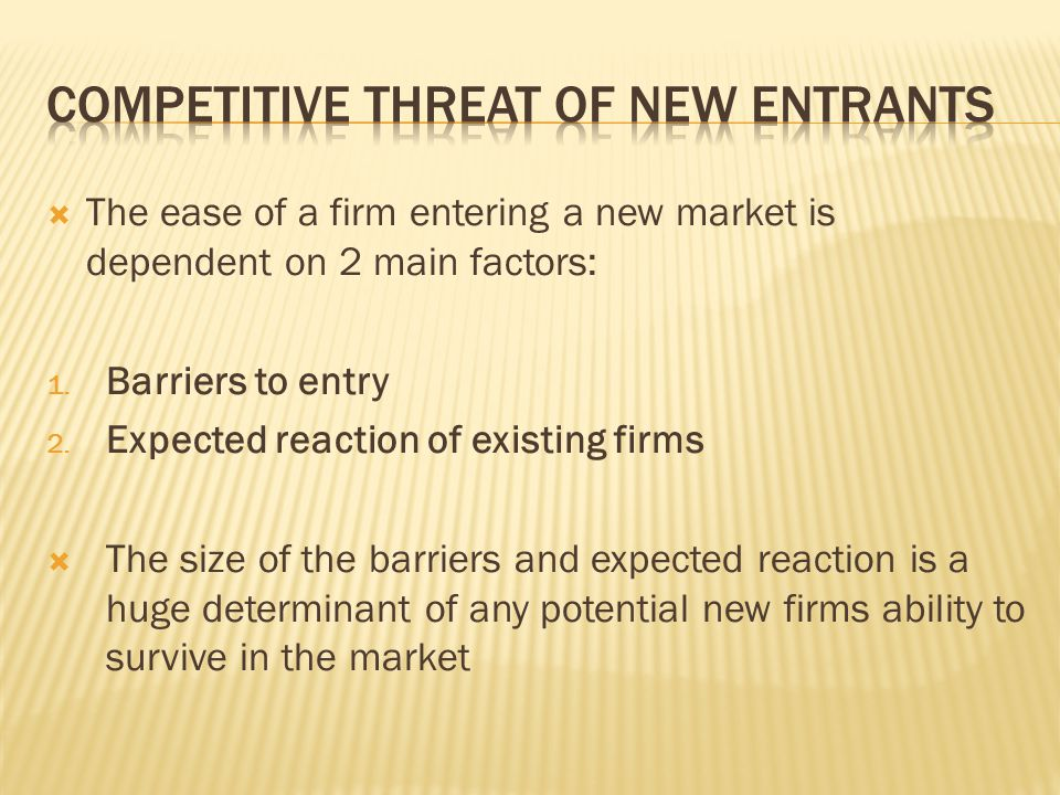 Competitive Threat of new entrants