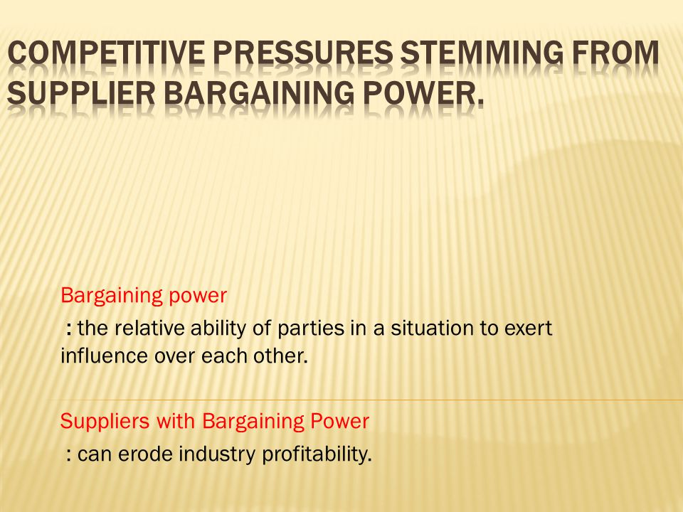 Competitive Pressures Stemming from Supplier Bargaining Power.