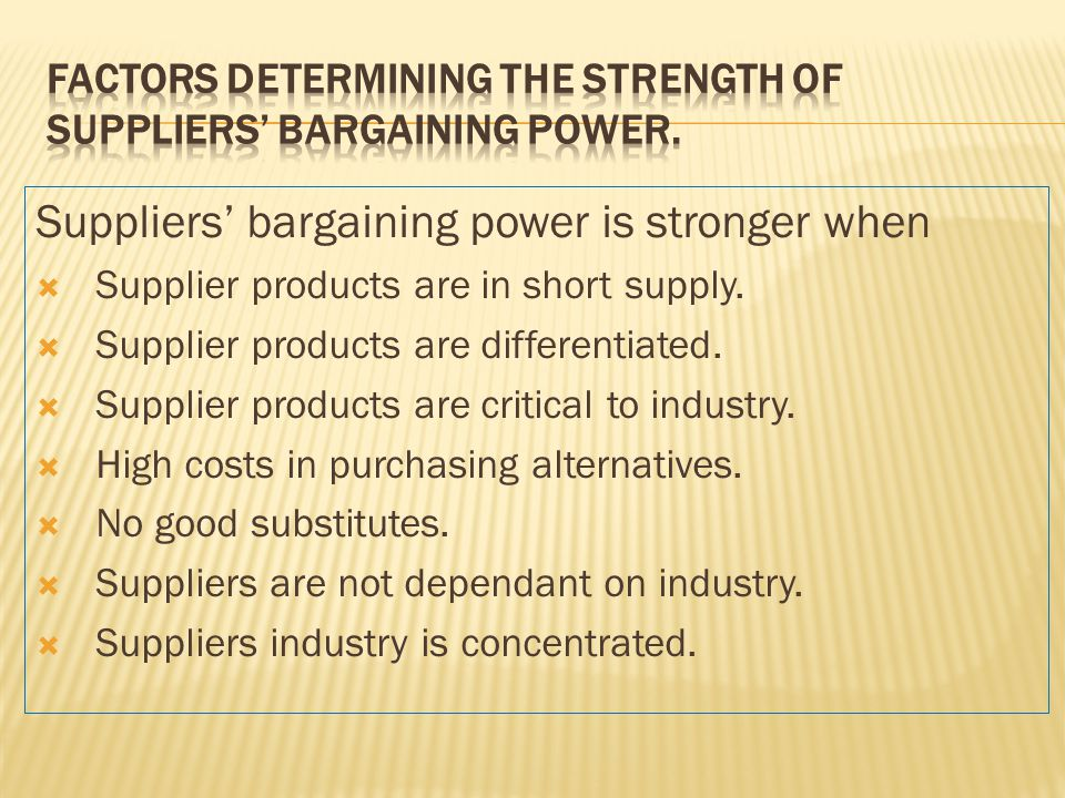 Factors Determining the Strength of Suppliers' Bargaining Power.