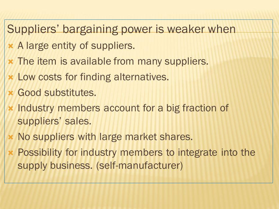 Suppliers' bargaining power is weaker when