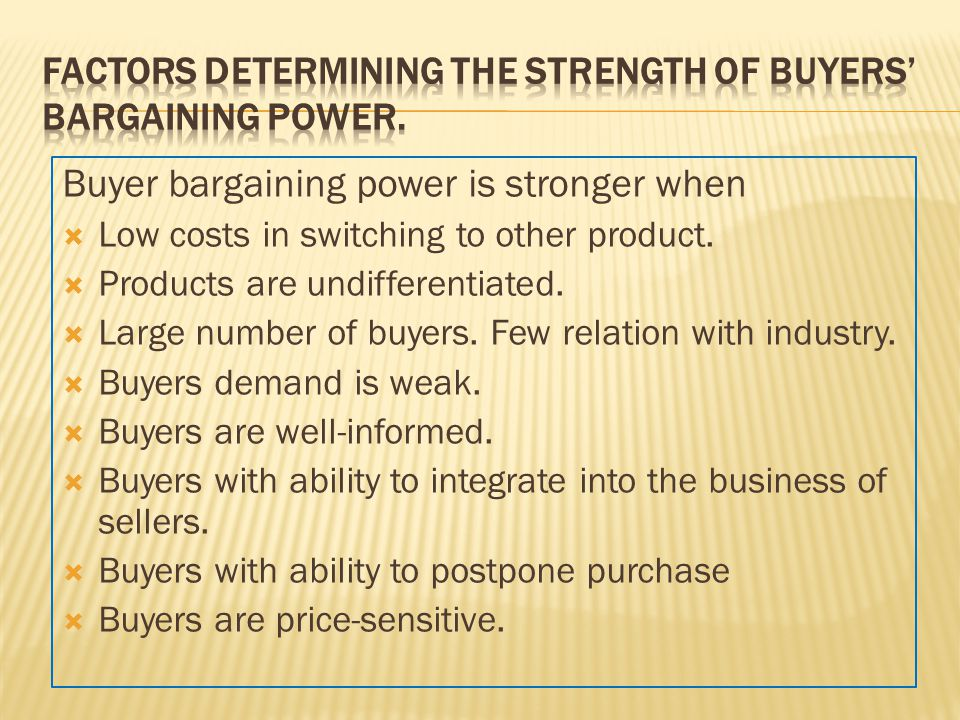 Factors Determining the Strength of Buyers' Bargaining Power.