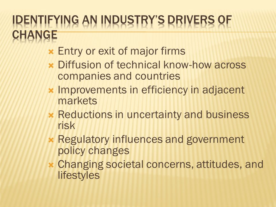 Identifying an industry's drivers of change