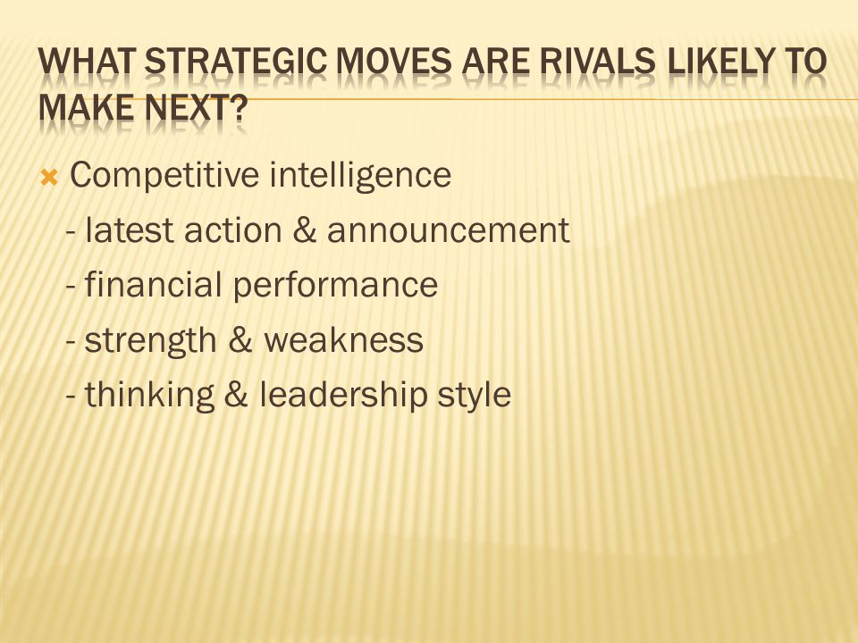 What strategic moves are rivals likely to make next