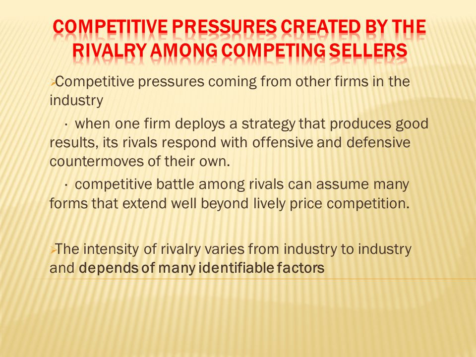 Competitive Pressures Created by the Rivalry among Competing Sellers