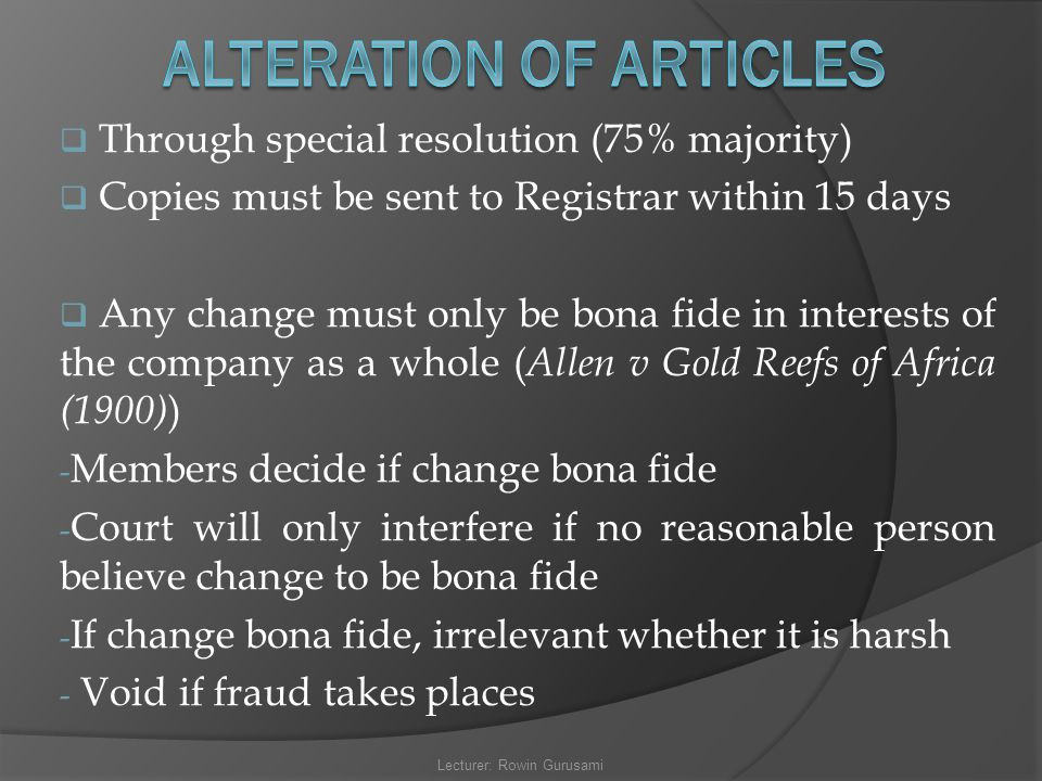 ALTERATION OF ARTICLES