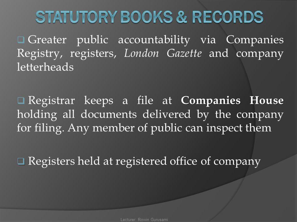 STATUTORY BOOKS & RECORDS