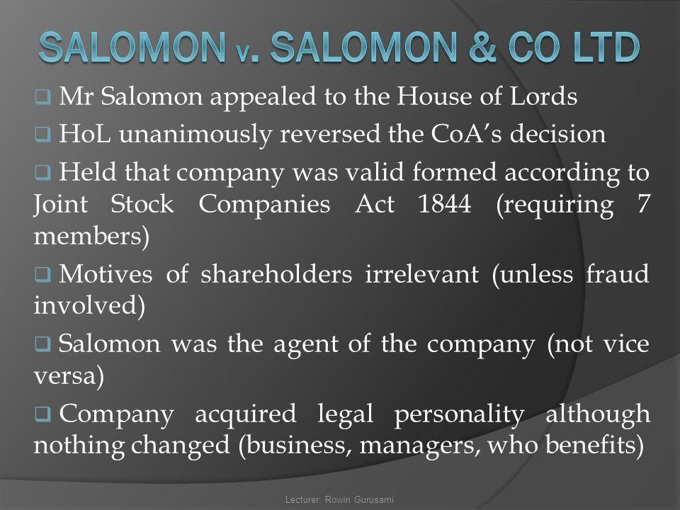 SALOMON v. SALOMON & CO LTD