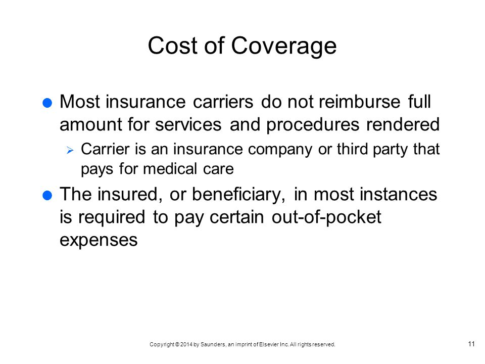 Cost of Coverage Most insurance carriers do not reimburse full amount for services and procedures rendered.