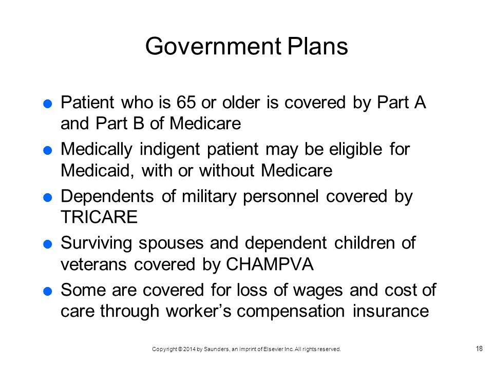 Government Plans Patient who is 65 or older is covered by Part A and Part B of Medicare.