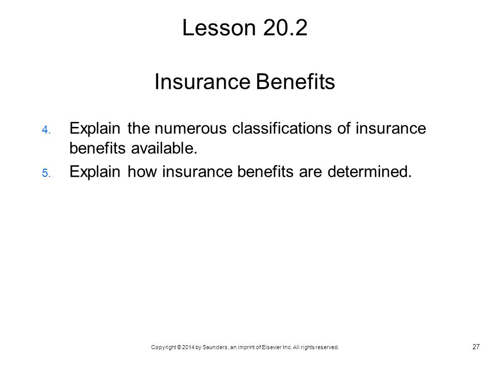 Lesson 20.2 Insurance Benefits
