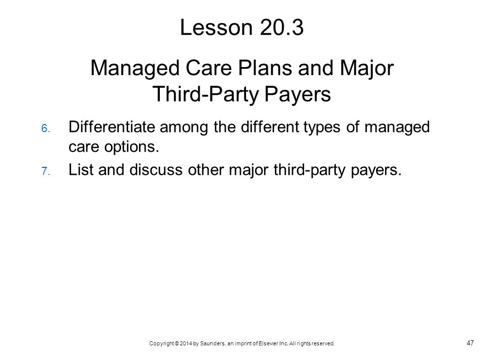 Managed Care Plans and Major Third-Party Payers