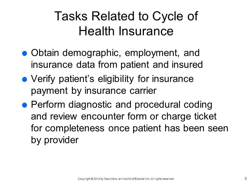 Tasks Related to Cycle of Health Insurance