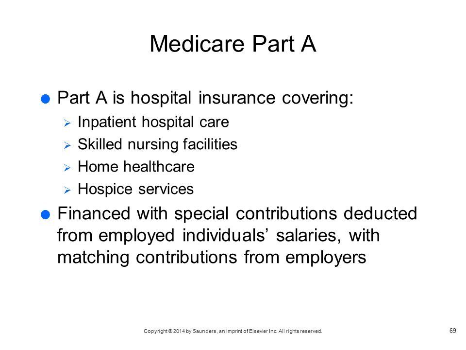 Medicare Part A Part A is hospital insurance covering: