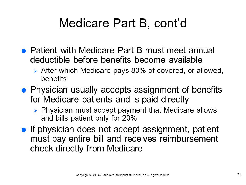Medicare Part B, cont'd Patient with Medicare Part B must meet annual deductible before benefits become available.