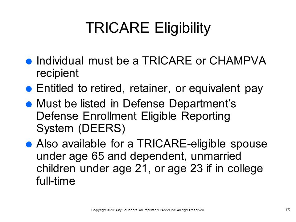 TRICARE Eligibility Individual must be a TRICARE or CHAMPVA recipient