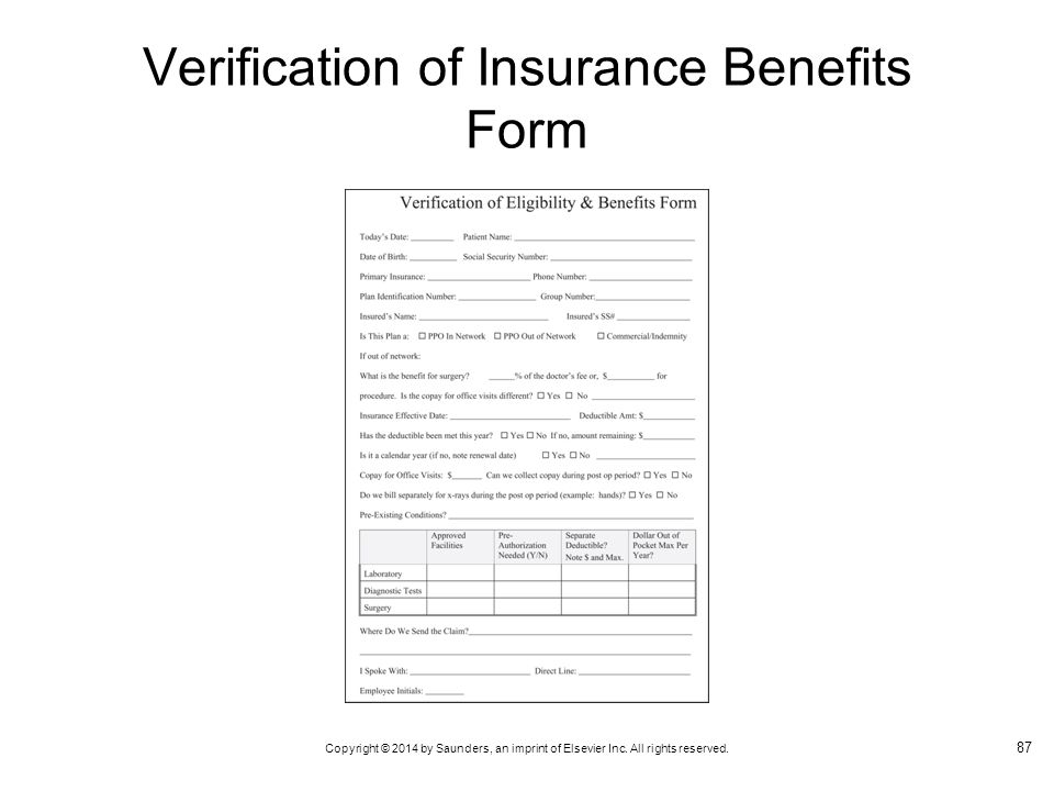Verification of Insurance Benefits Form
