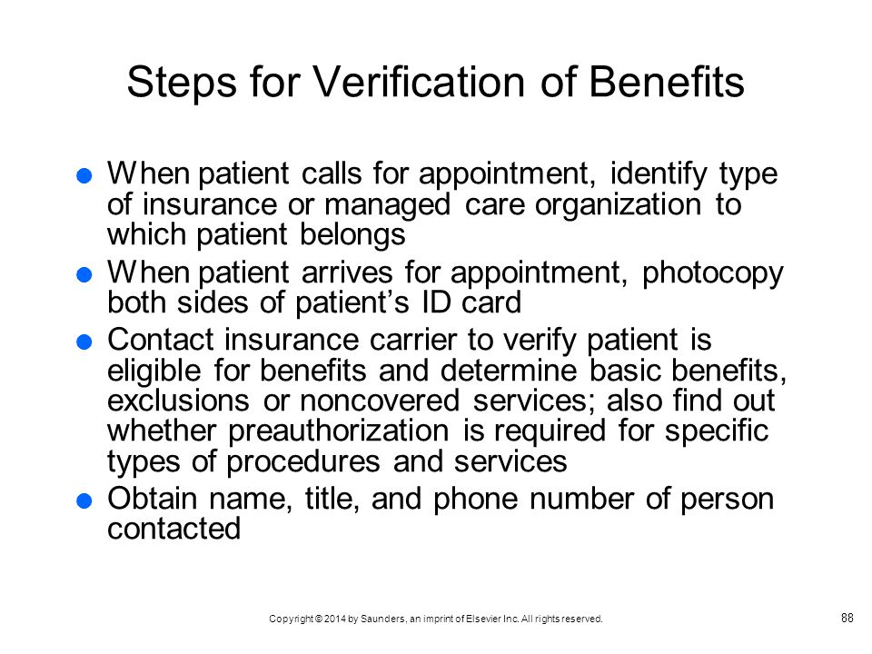 Steps for Verification of Benefits