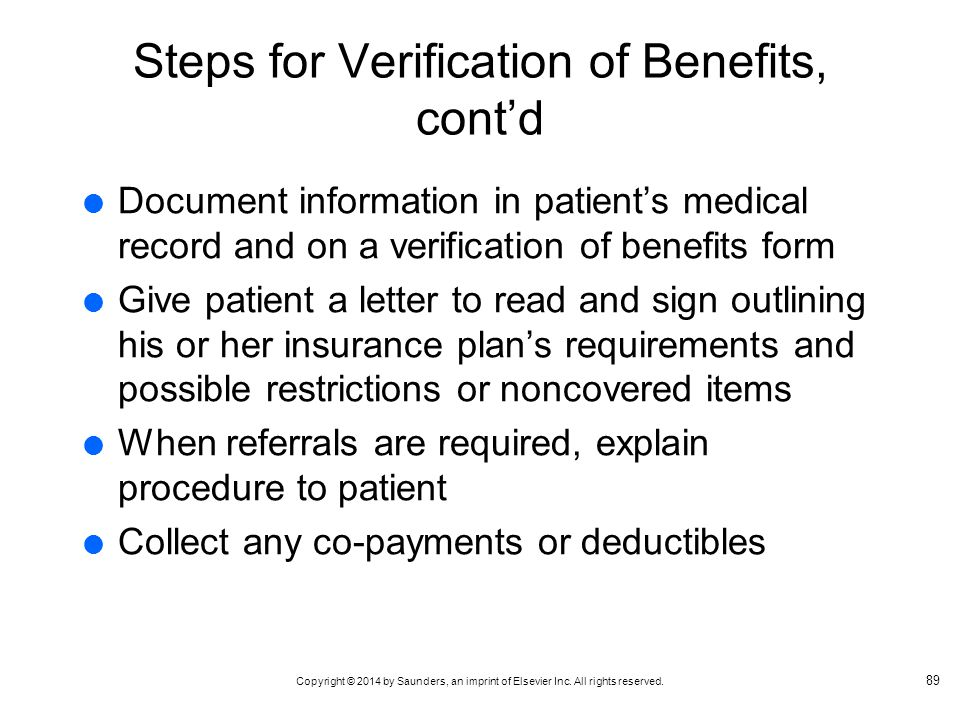 Steps for Verification of Benefits, cont'd