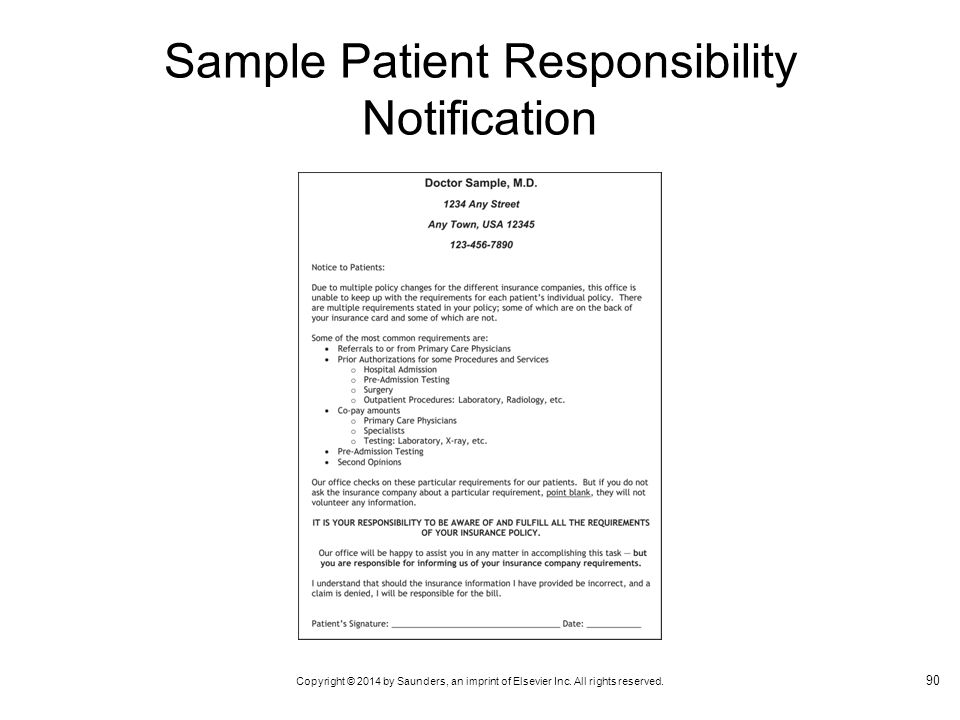 Sample Patient Responsibility Notification