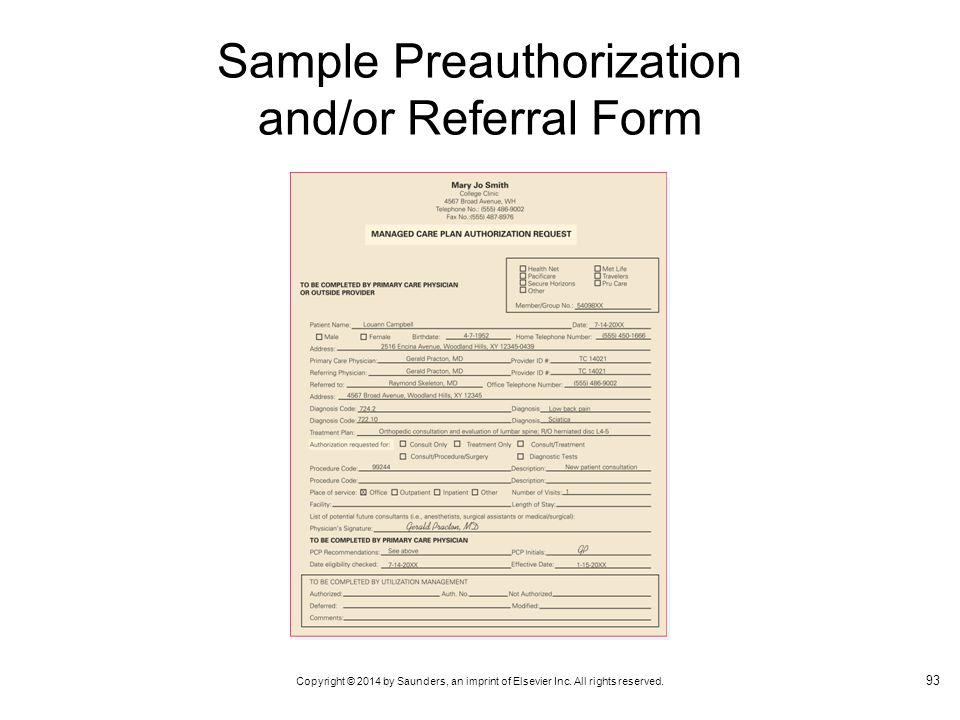 Sample Preauthorization and/or Referral Form