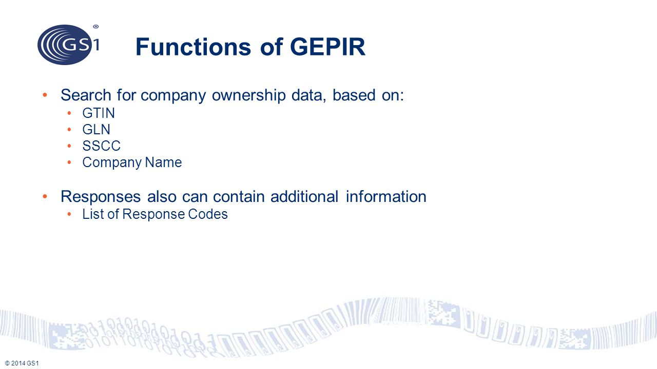Functions of GEPIR Search for company ownership data, based on: