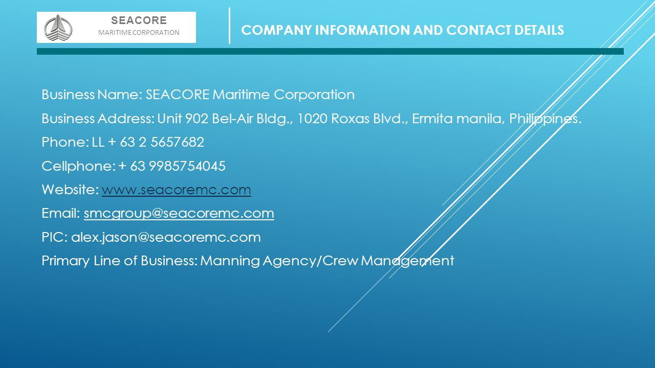COMPANY INFORMATION AND CONTACT DETAILS