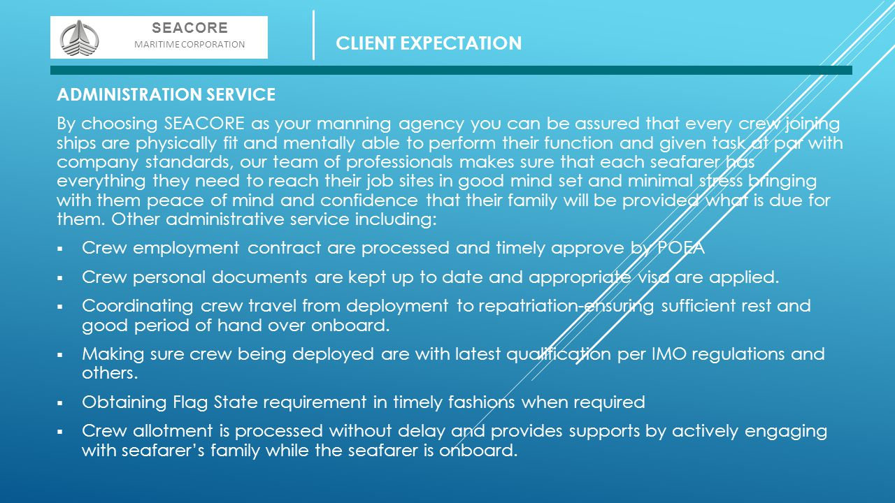 CLIENT EXPECTATION ADMINISTRATION SERVICE