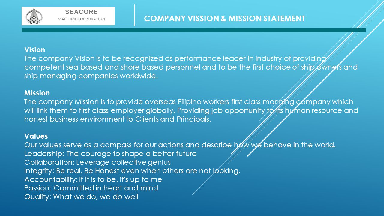 COMPANY VISSION & MISSION STATEMENT