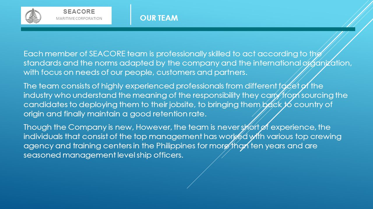 SEACORE MARITIME CORPORATION. OUR TEAM.