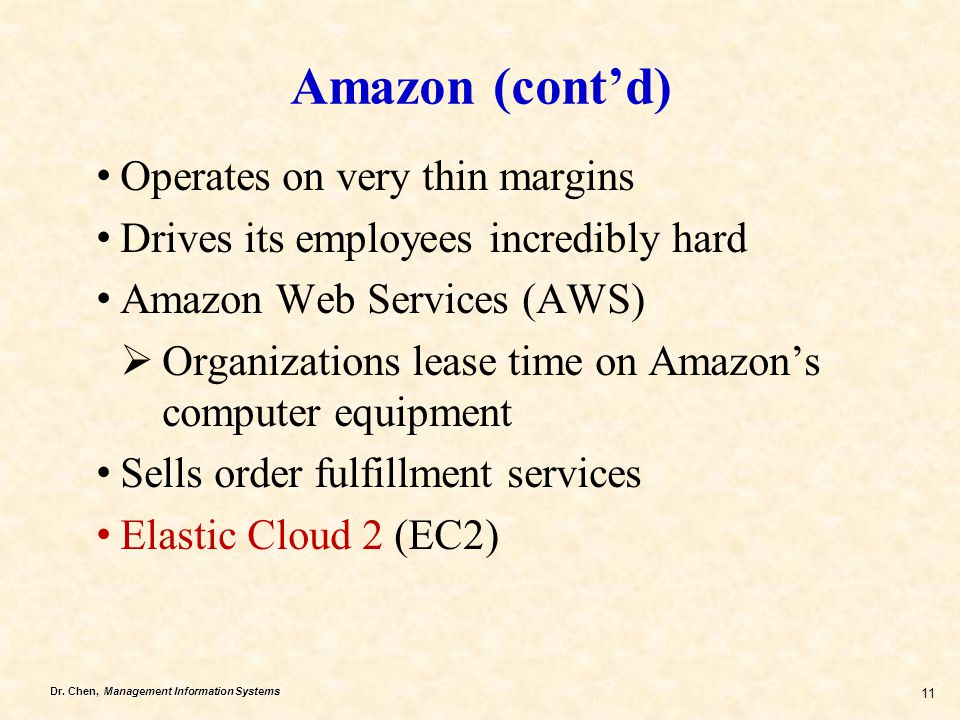 Amazon (cont'd) Operates on very thin margins