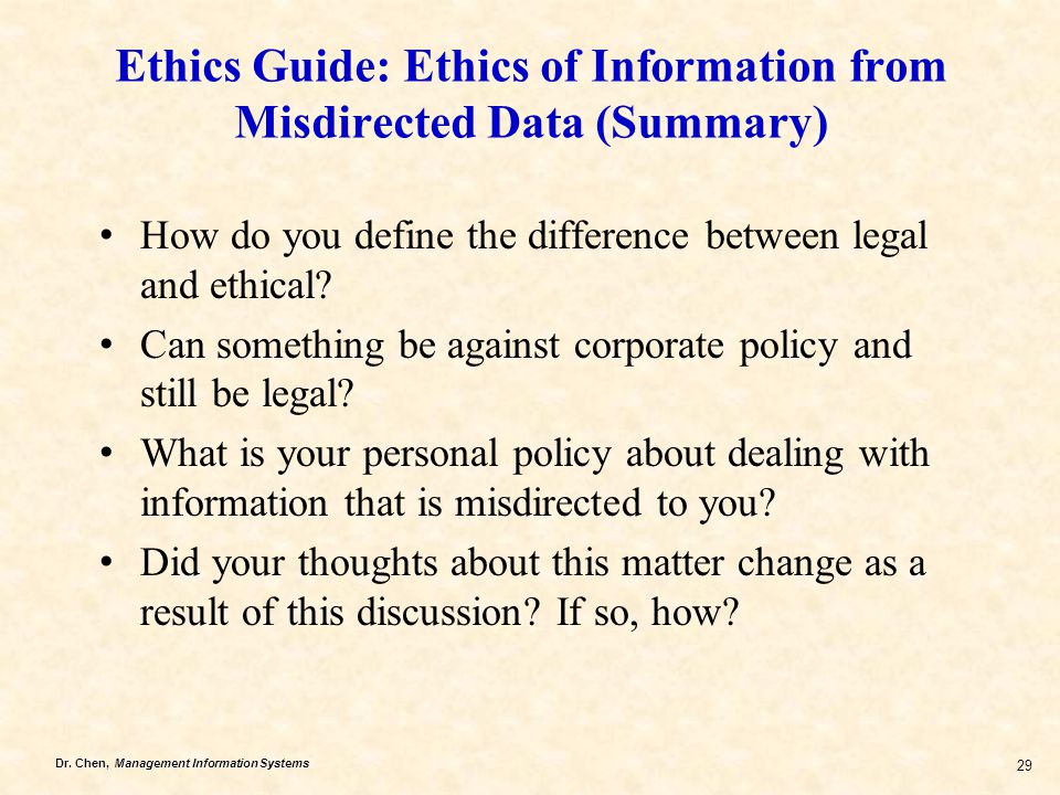Ethics Guide: Ethics of Information from Misdirected Data (Summary)