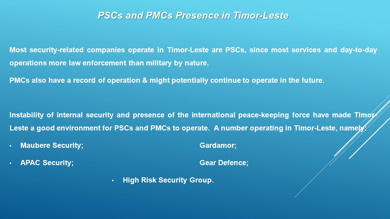 PSCs and PMCs Presence in Timor-Leste