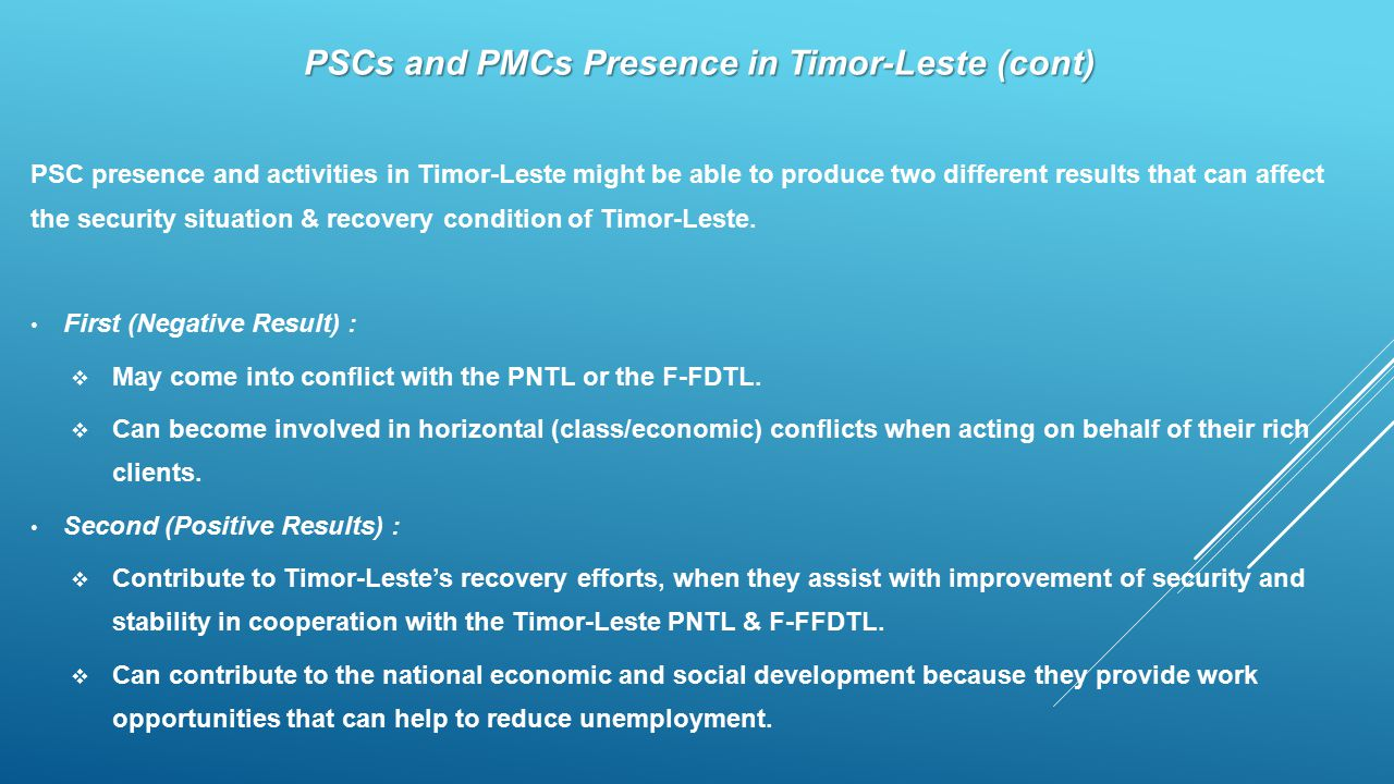 PSCs and PMCs Presence in Timor-Leste (cont)
