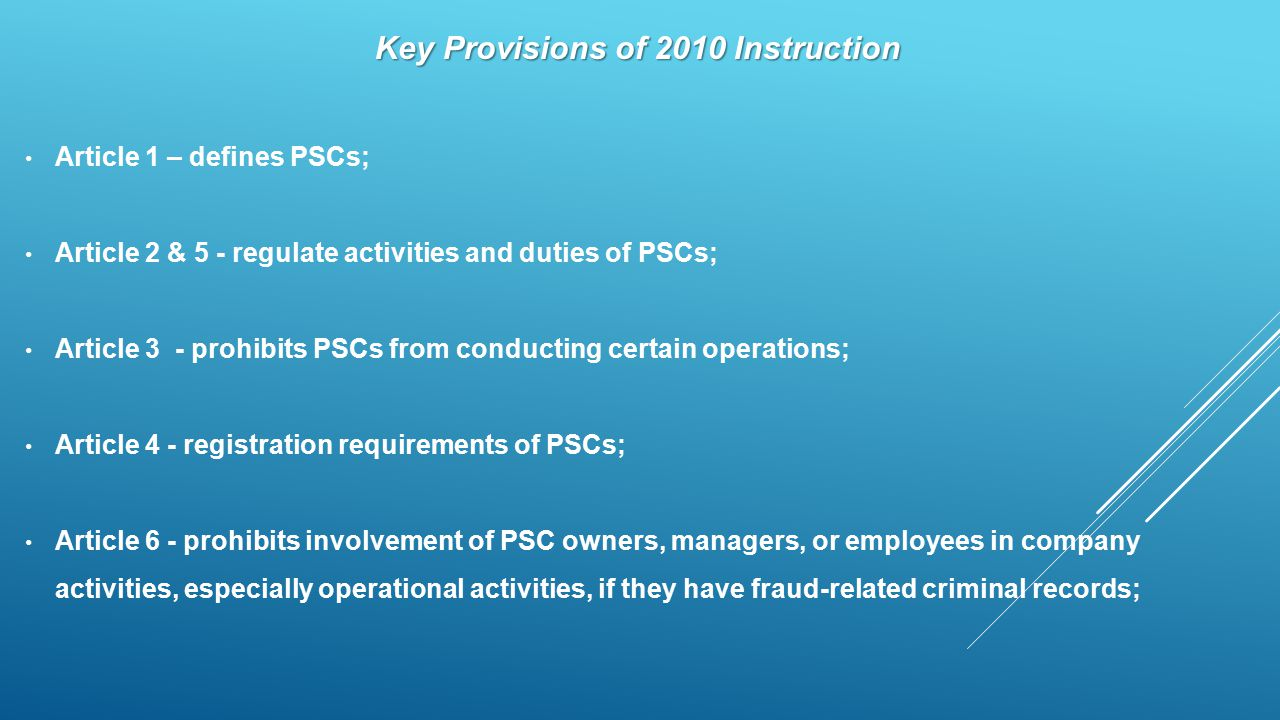 Key Provisions of 2010 Instruction