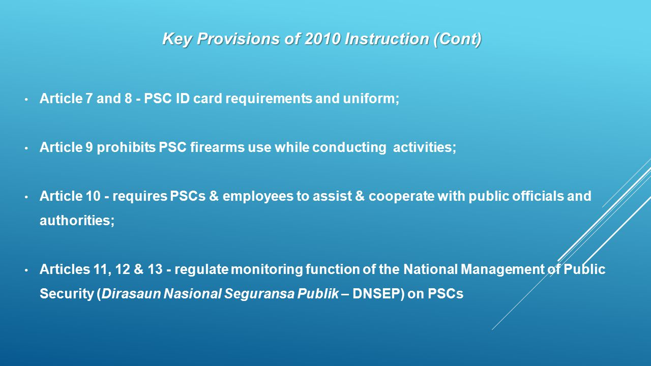 Key Provisions of 2010 Instruction (Cont)