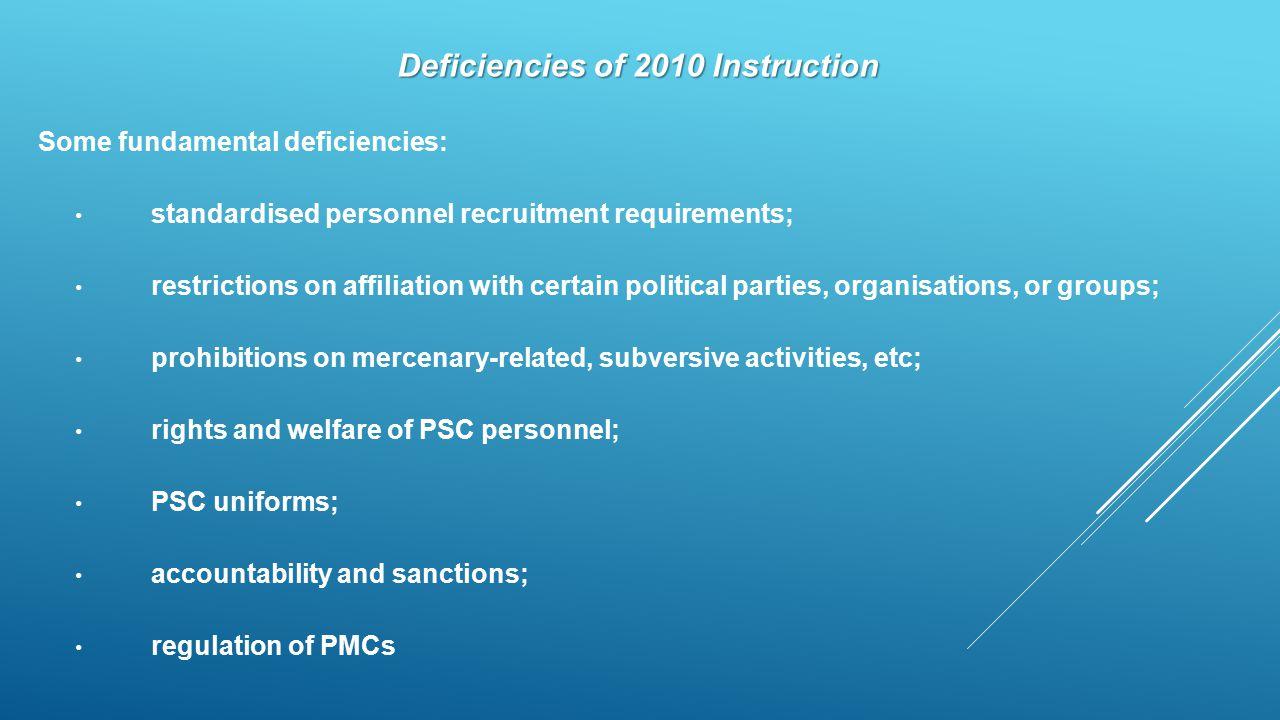 Deficiencies of 2010 Instruction