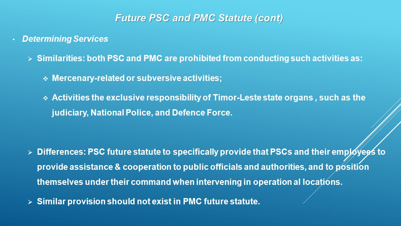 Future PSC and PMC Statute (cont)