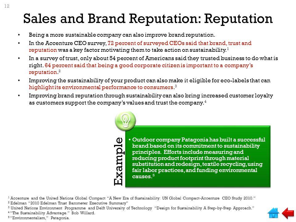 Sales and Brand Reputation: Reputation