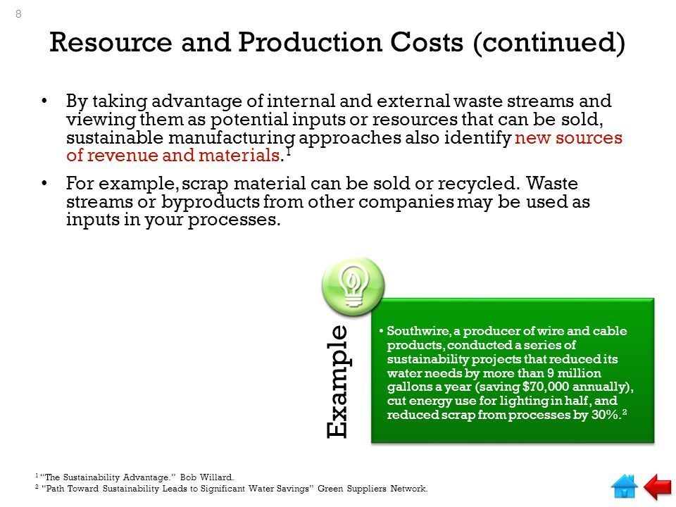 Resource and Production Costs (continued)