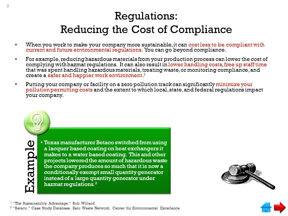Regulations: Reducing the Cost of Compliance