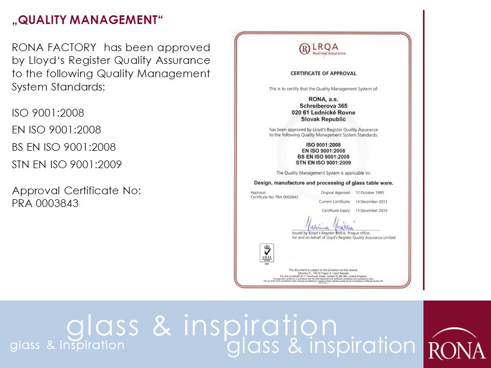 "glass & inspiration glass & inspiration ""QUALITY MANAGEMENT"
