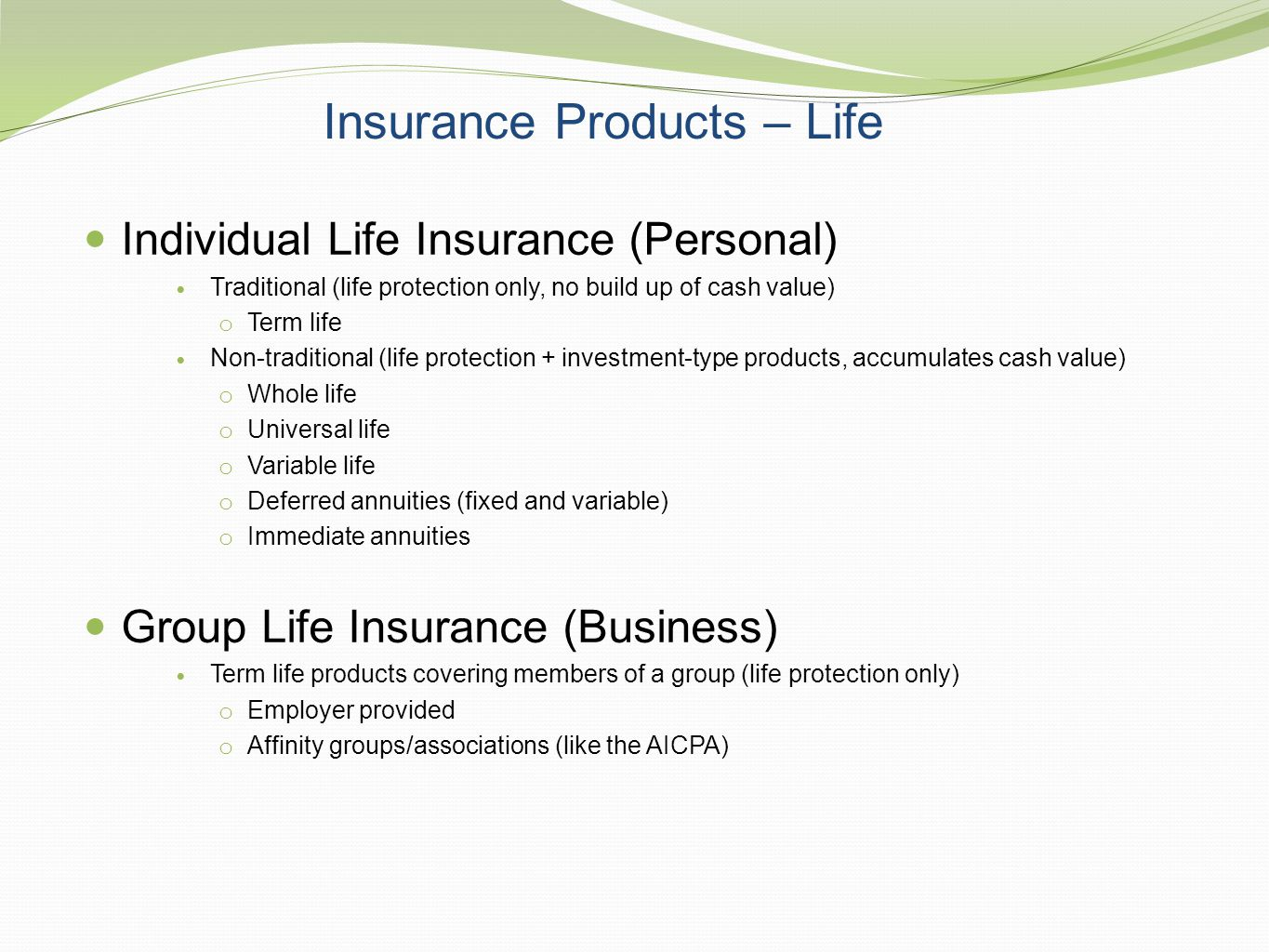 Insurance Products – Life