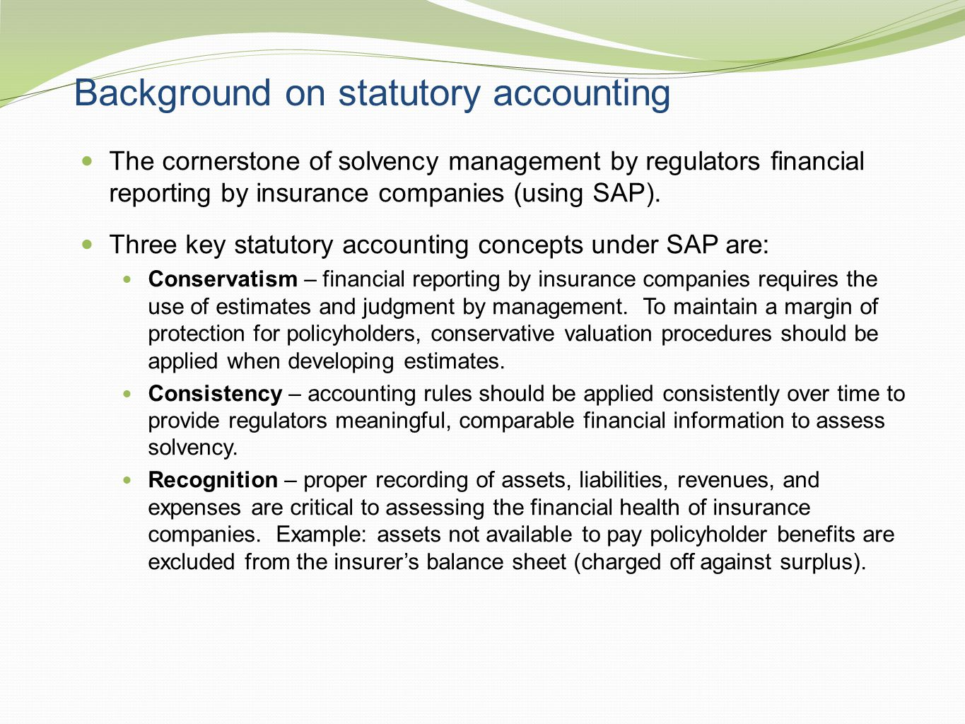 Background on statutory accounting