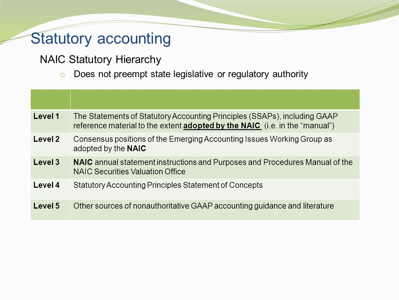 Statutory accounting NAIC Statutory Hierarchy