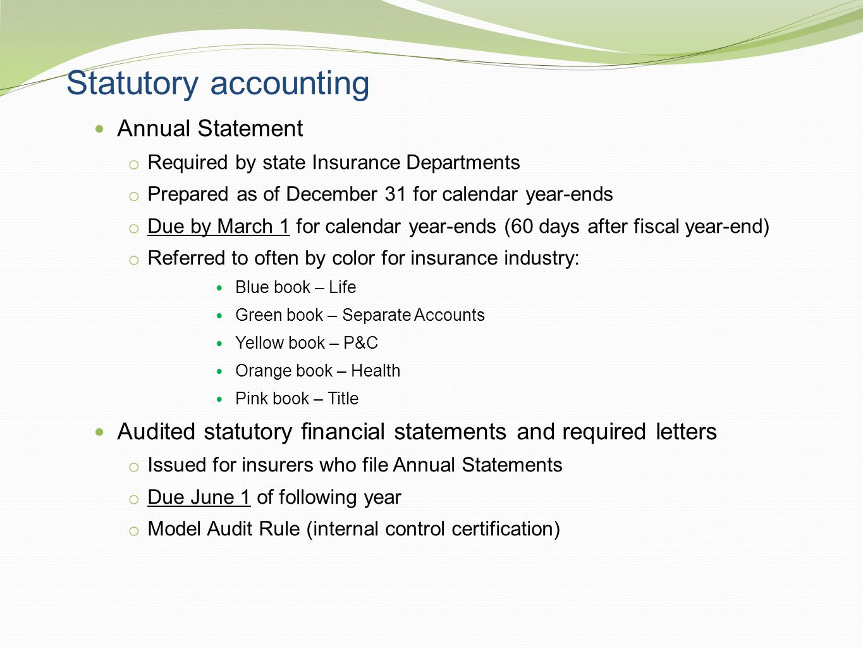 Statutory accounting Annual Statement
