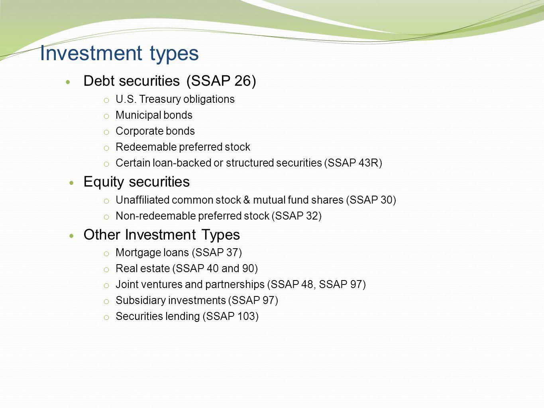 Investment types Debt securities (SSAP 26) Equity securities