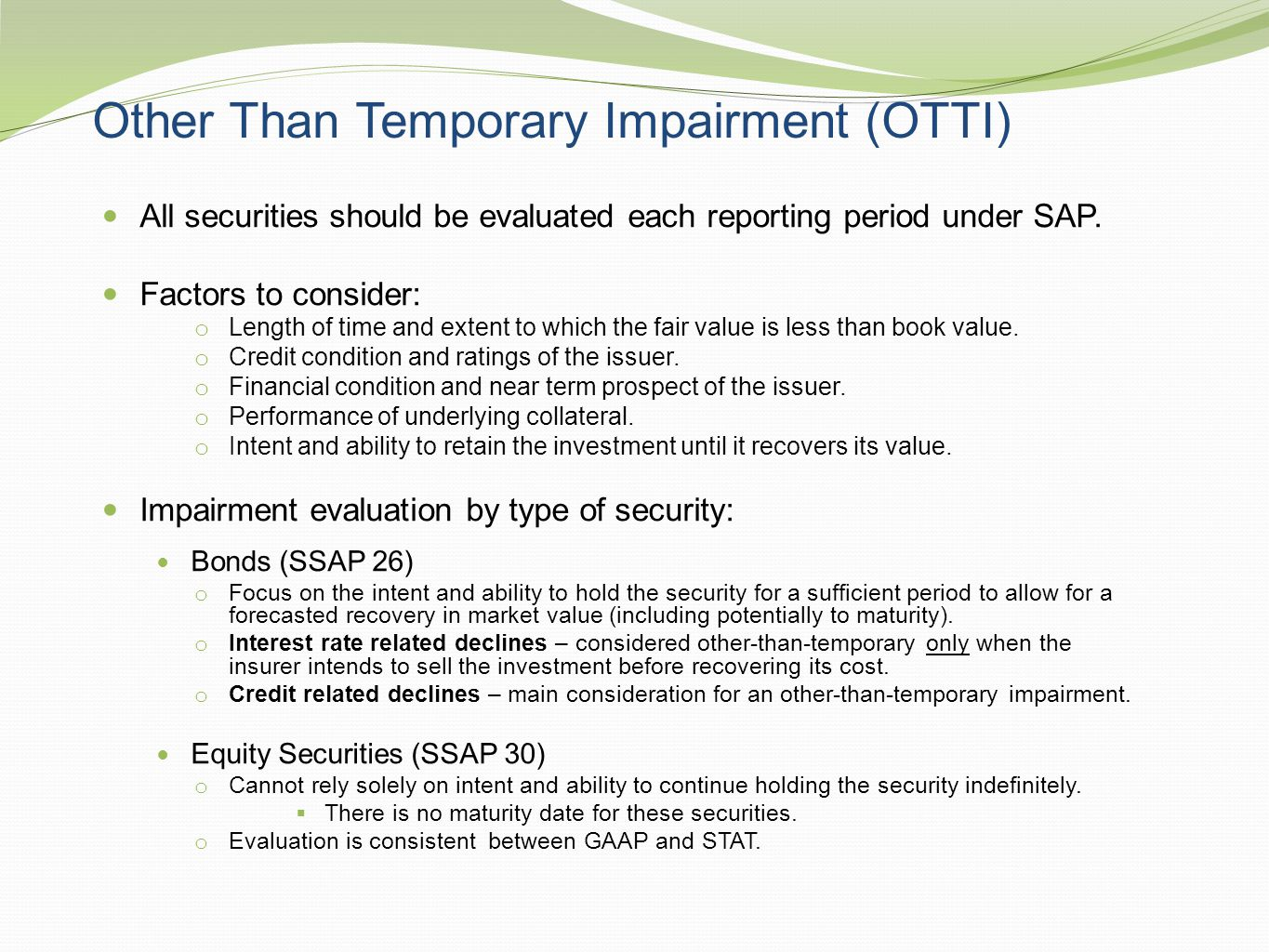 Other Than Temporary Impairment (OTTI)