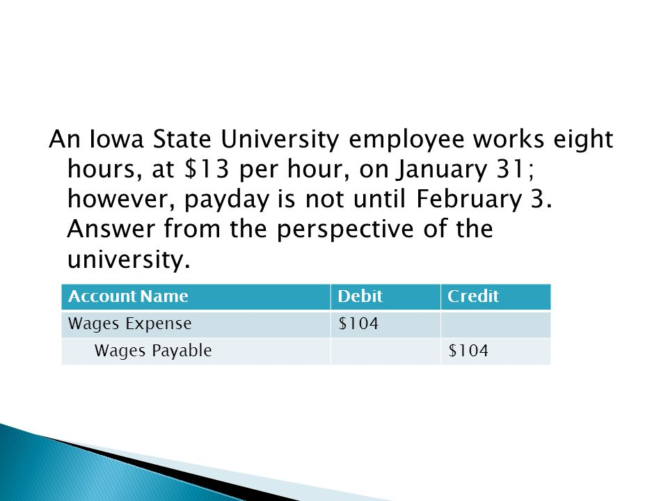 An Iowa State University employee works eight hours, at $13 per hour, on January 31; however, payday is not until February 3. Answer from the perspective of the university.
