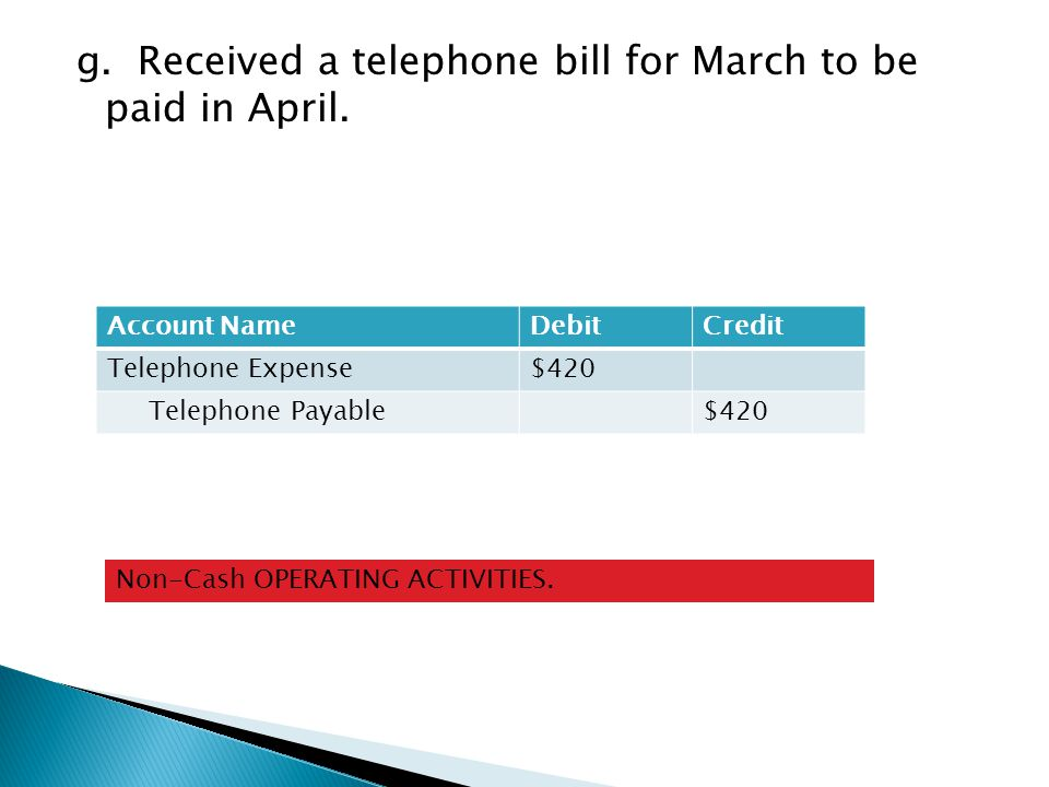 g. Received a telephone bill for March to be paid in April.