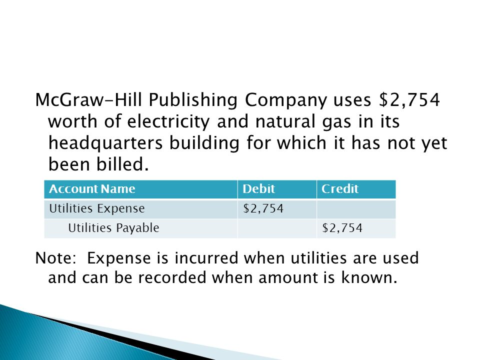 McGraw-Hill Publishing Company uses $2,754 worth of electricity and natural gas in its headquarters building for which it has not yet been billed.